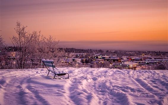 Fond d'écran Neige, banc, crépuscule, hiver