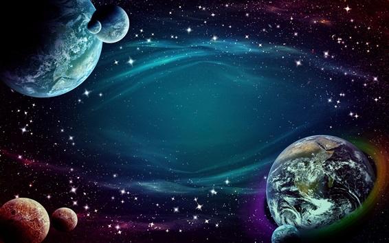 Fond d'écran Espace, étoiles, terre, planètes, design créatif