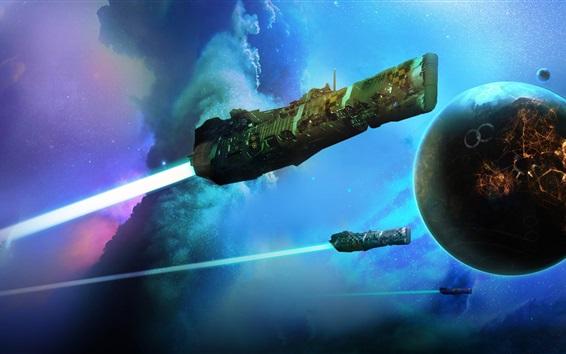 Wallpaper Spaceship, planet, stars, art picture