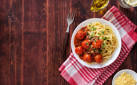 Wallpaper Spaghetti, tomatoes, noodle