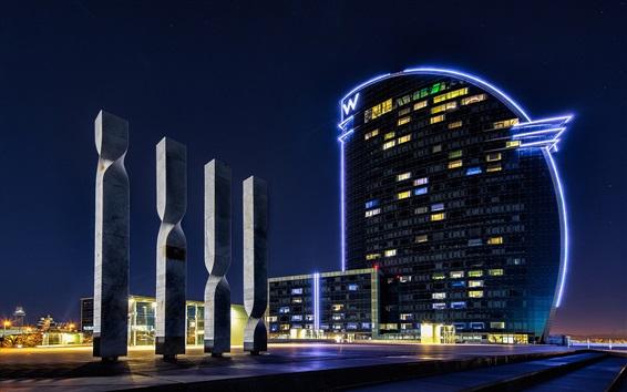 Wallpaper Spain, Barcelona, buildings, lights