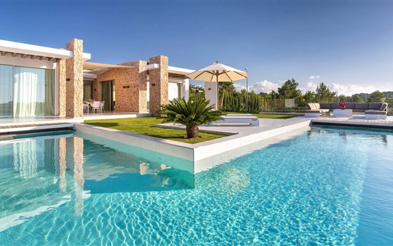 Wallpaper Spain, Ibiza, villa, pool