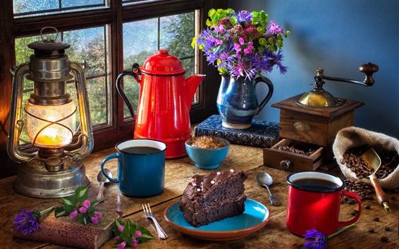Обои Натюрморт, кофемолка, торт, лампа, кофейные бобы, чашки, окна