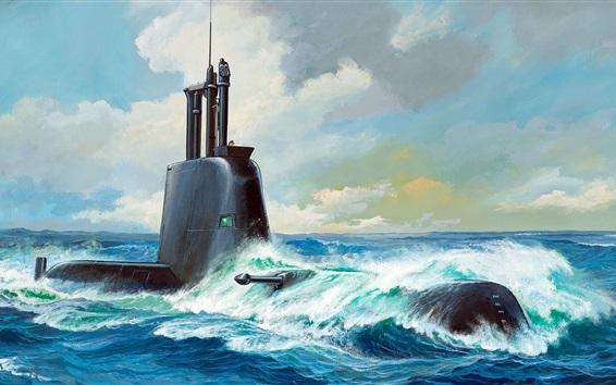 Wallpaper Submarine Class 21, type 214, art painting