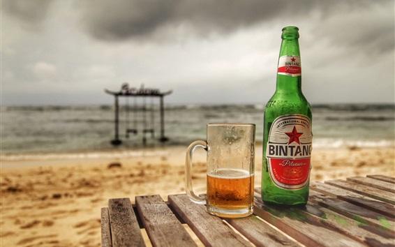 Wallpaper Summer drinks, beer, bottle, cup, beach