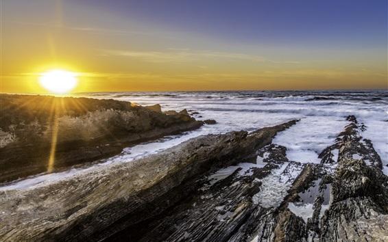 Wallpaper Sunset, sea, waves, stones, nature landscape