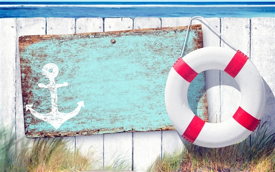 Wallpaper Swimming ring, anchor, fence, sea