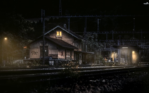 Wallpaper Switzerland, Canton of Bern, railroad, station, night