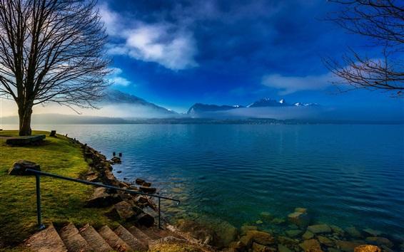 Wallpaper Switzerland, lake, trees, clouds, morning