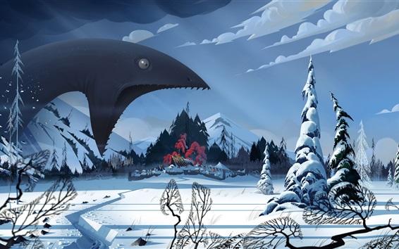 Wallpaper The Banner Saga, video game, monster, winter, snow, village, art picture