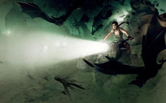 Wallpaper Tomb Raider, Lara Croft, motorcycle, lights