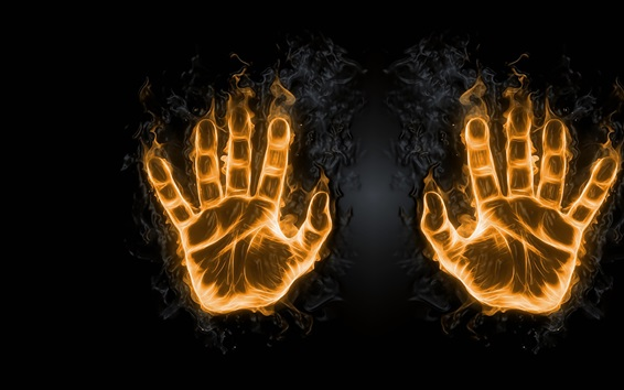 Wallpaper Two hands, fingers, fire, creative picture