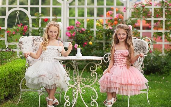 Wallpaper Two lovely little girl, drink tea, table, garden