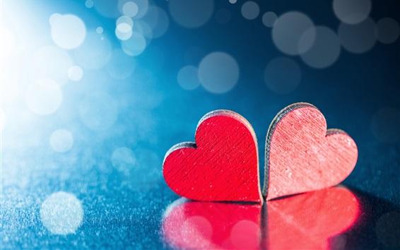 Papéis de Parede Dois corações de amor vermelho, fundo azul, luz de fundo