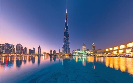 Papéis de Parede Emirados Árabes Unidos, Dubai, Burj Khalifa, cidade, água, arranha-céus, crepúsculo