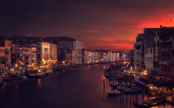Wallpaper Venice, Italy, river, houses, night