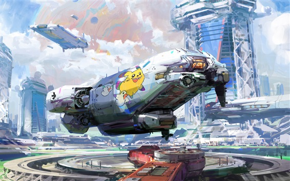 Wallpaper Watercolors, fiction, spaceport, future style