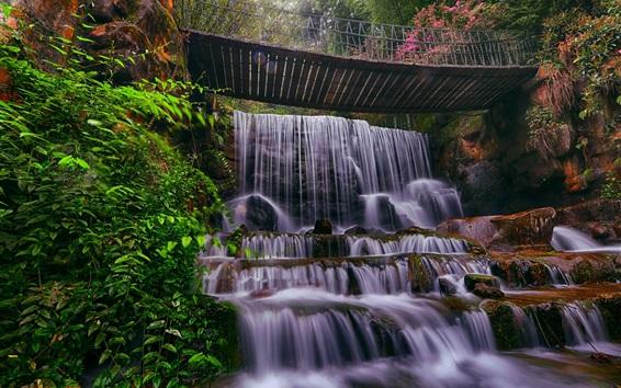 Fond d'écran Chute d'eau, pont, pierres