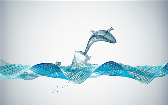 Wallpaper Waves, whale, curves, abstract design