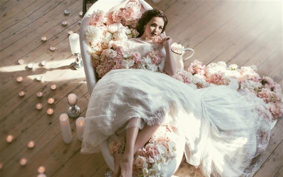 Papéis de Parede Vestido de casamento, noiva, flores, velas