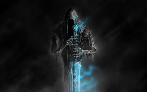 Wallpaper Welcome to Hell, horror, death, sword, darkness, blue flame