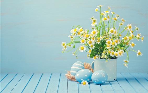 Fond d'écran Fleurs de camomille blanche, oeufs, Joyeuses Pâques