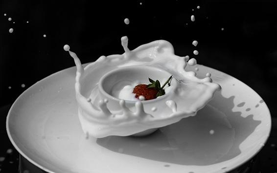 Wallpaper White cup and plate, milk, strawberry, splash
