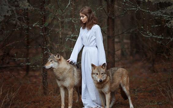 Wallpaper White dress girl, two wolves