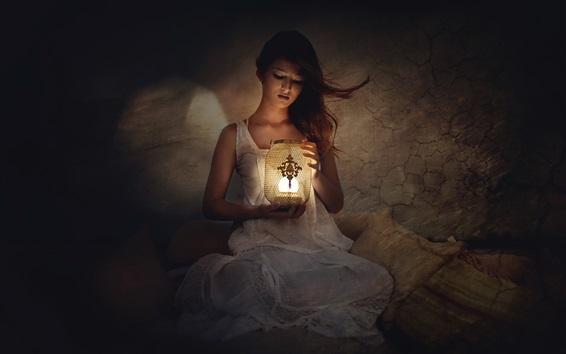 Wallpaper White skirt girl, lamp, room, darkness