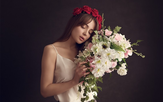 Wallpaper White skirt girl, mood, flowers, bouquet