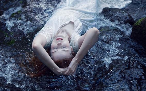 Wallpaper White skirt girl sleep in the water