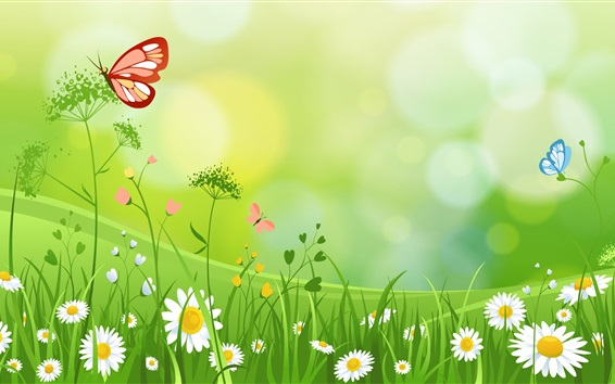 Wallpaper Wildflowers, butterfly, summer, art picture
