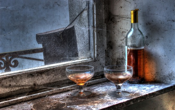 Fond d'écran Fenêtre, coupe en verre, bouteille, vin