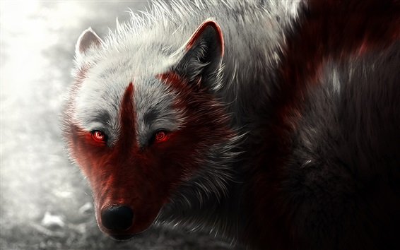 Wallpaper Wolf, glowing, red eyes, art picture