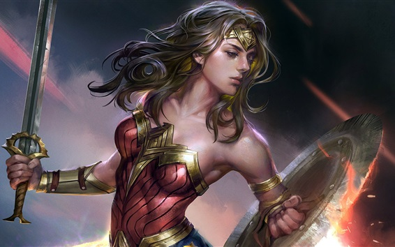 Wallpaper Wonder Woman, sword, superhero, art picture
