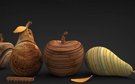Wallpaper Wooden fruit, artworks