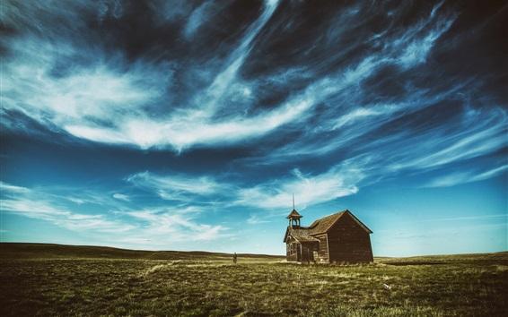 Fond d'écran Maison en bois, herbe, ciel bleu, nuages
