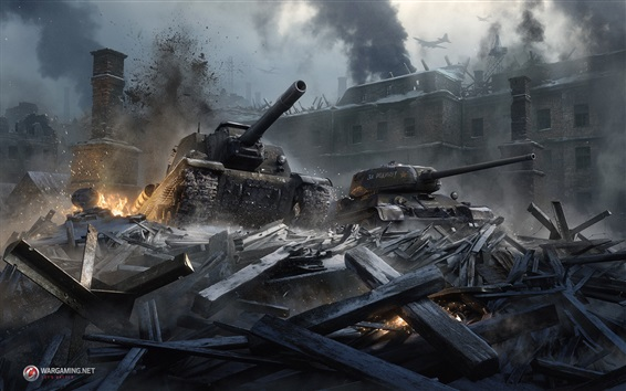 Wallpaper World of Tanks, Stalingrad, destruction, city