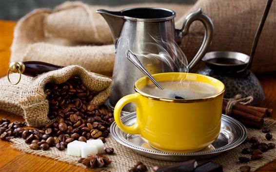 Papéis de Parede Copo amarelo, grãos de café, vapor