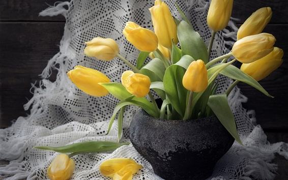 Wallpaper Yellow tulips, black vase