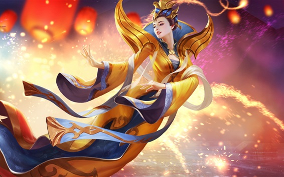 Wallpaper Yuanri, Heroes of Newerth, Chinese girl, flight