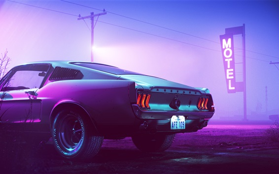 Wallpaper 1969 Ford Mustang car back view, motel, neon, night