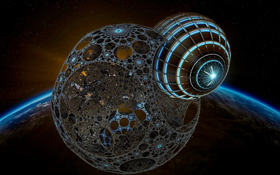 Wallpaper 3D art picture, space, Earth, planet