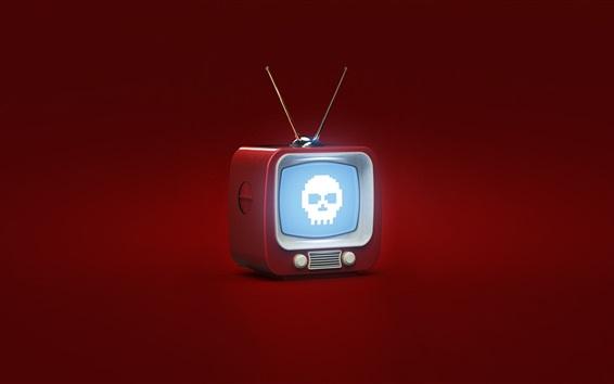 Обои 3D-дизайн, телевизор, череп, красный фон