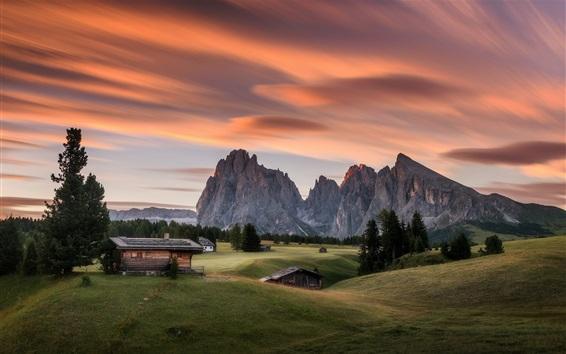 Fond d'écran Alpe di Siusi, Italie, maisons, montagnes, arbres