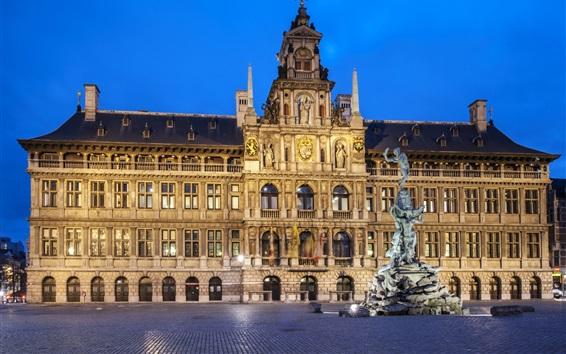 Wallpaper Antwerp, Belgium, square, night, city