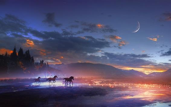 Wallpaper Art design, mountains, horses, moon, clouds, night, lights