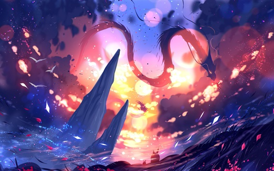 Fond d'écran Dessin d'art, dragon, soleil, montagnes, feuilles