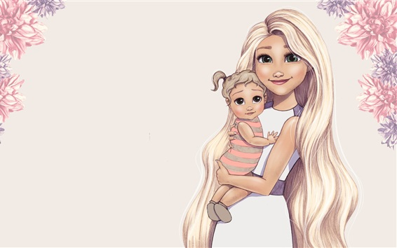 Wallpaper Art drawing, green eyes girl and baby