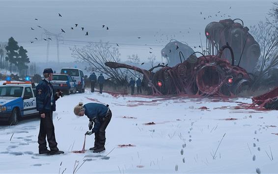 壁紙 アートペインティング、警察、車、雪、冬
